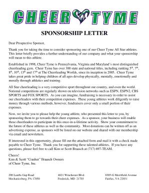 Fillable online cheer tyme sponsorship form cheertyme fax fill online altavistaventures Gallery