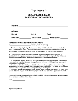 Fillable Online Yoga Legacy Waiver Fax Email Print Pdffiller