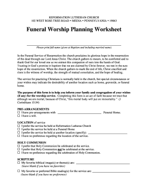 funeral pre planning worksheet fill out online download printable