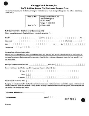 fillable online certegy check services inc fact act free annual rh pdffiller com