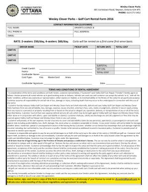 Fillable Online Wesley Clover Parks Golf Cart Rental Form