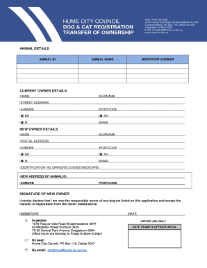application to transfer of registration vic
