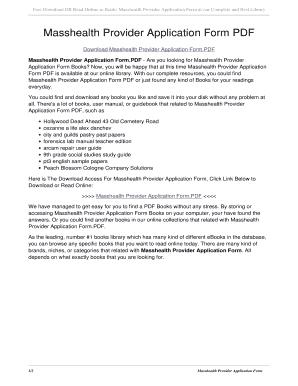 Fillable Online nazscm Masshealth Provider Application Form PDF ...