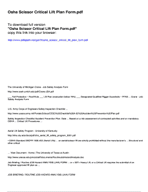 Fillable Online Osha Scissor Critical Lift Plan Form - pdfslibforyou
