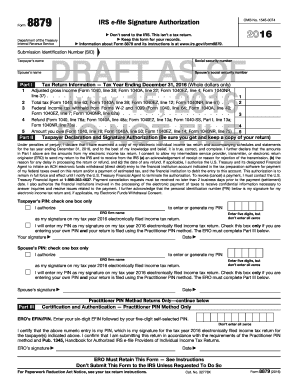 Fillable Online ftp irs 2016 Form 8879. IRS e-file Signature ...