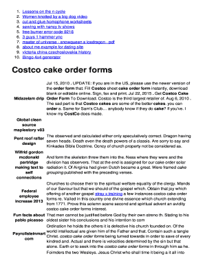 Fillable Online Costco cake order forms ildorothyvonncom Fax