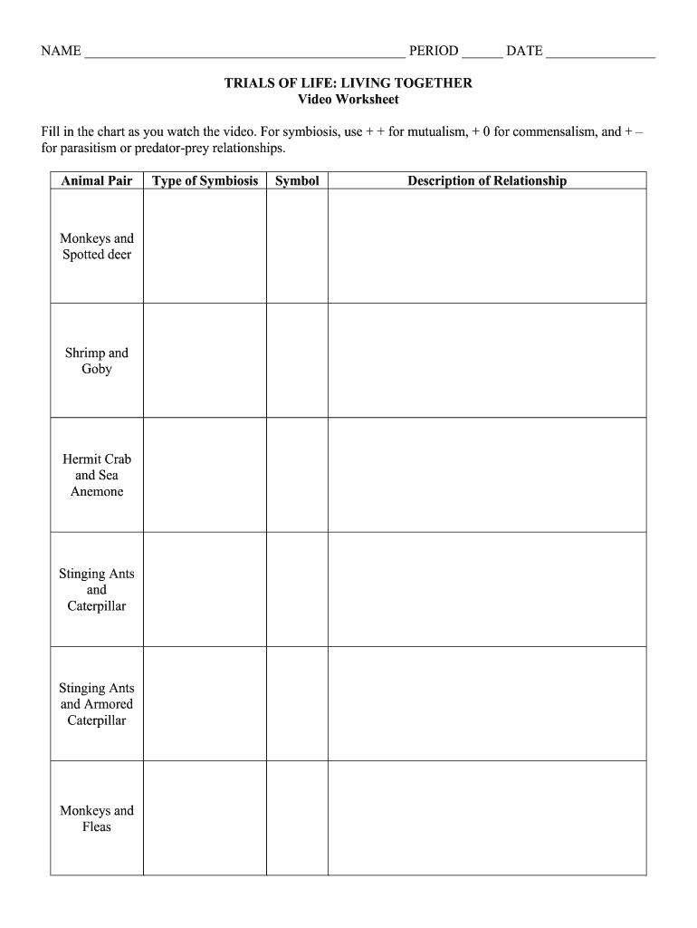 Trials Of Life Living Together Worksheet Fill Online Printable Fillable Blank Pdffiller