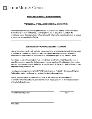 Fillable Online Hipaa Training Acknowledgement Trustedpartner Fax