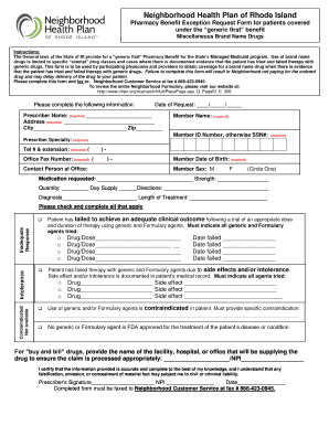 Fillable Online Pharmacy Benefit Exception Request Form For Patients