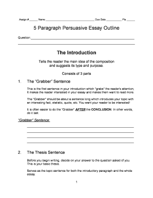 5 paragraph persuasive essay outline template