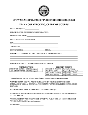 Fillable stow municipal court records Templates to Submit Online in