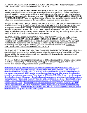 Fillable Online FLORIDA DECLARATION DOMICILE FORM LEE COUNTY ...