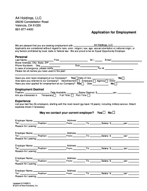 Insert Employer Name Application For Employment