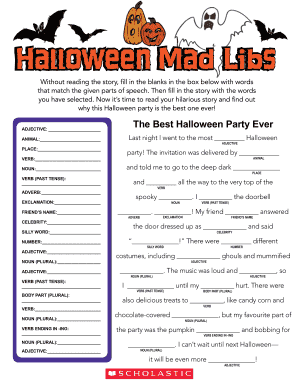photograph regarding Halloween Mad Libs Printable Free referred to as Halloween Insane Libs Fill On the net, Printable, Fillable, Blank