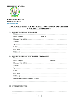 Application Form For Authorization To Open And Operate