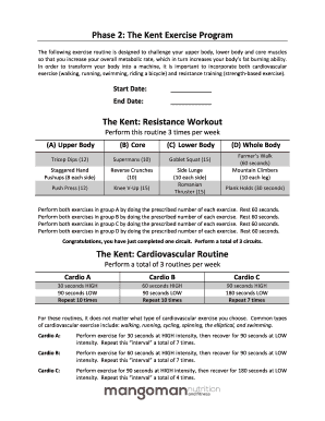 Phase 2: The Kent Exercise Program The Kent: Resistance Workout ...