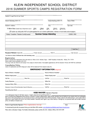 sport registration form template - 2016 summer sports camps registration form fill online
