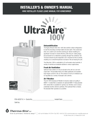INSTALLER S & OWNER S MANUAL - ultra-aire.com