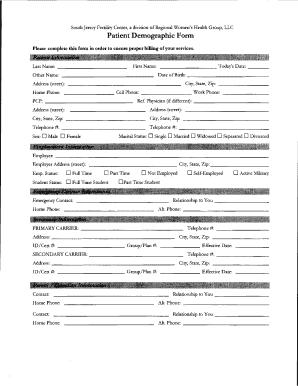 Fillable Online Patient Demographic Form - sjfert.com Fax Email ...