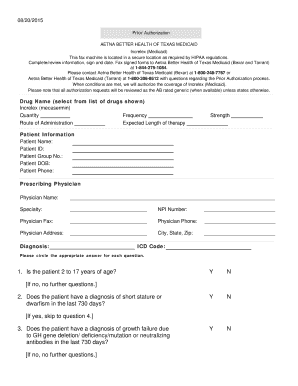 Printable aetna prior authorization Samples to Submit Online