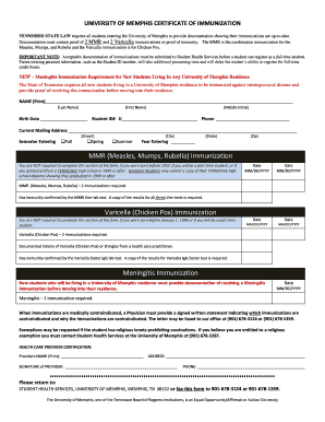 immunization form template