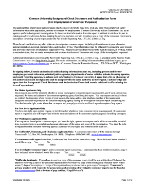 25 Printable Background Check Disclosure And Authorization