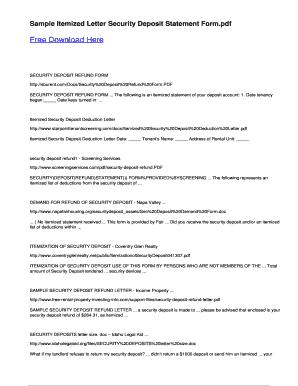 Sample itemized letter security deposit statement form fill online preview of sample altavistaventures Images