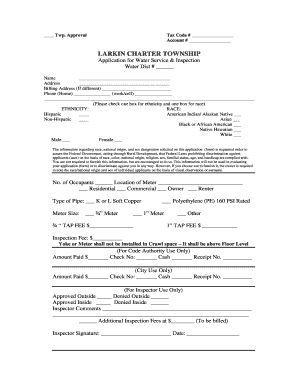 LARKIN CHARTER TOWNSHIP Application for Water Service