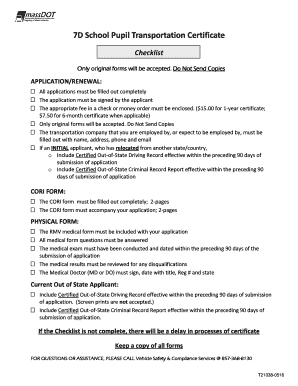 fillable online 7d school pupil transportation certificate rh pdffiller com