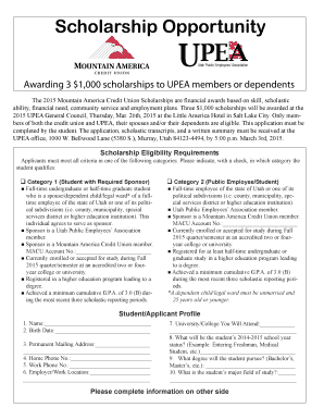 Fillable Online Scholarship Opportunity - Mountain America