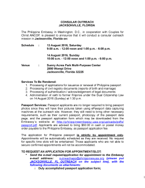philippine consular outreach schedule - Edit Online, Fill