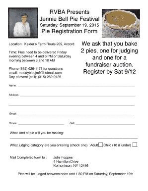 Fillable Online Jennie Pie Reg Form Fax Email Print Pdffiller