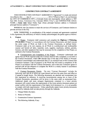 Fillable Online ATTACHMENT A DRAFT CONSTRUCTION CONTRACT AGREEMENT - Draft contract example