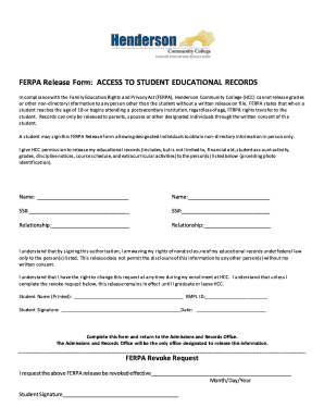 ferpa release form  Fillable Online FERPA Release Form: ACCESS TO STUDENT ...