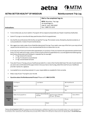 mtm trip log mtm reimbursement trip log - Fill Out, Print