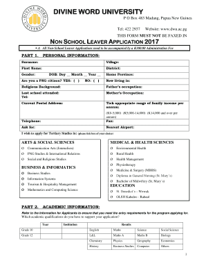 Application Form Divine Word University, Fillable Online 2017 Non School Leaver Application Pdf Divine Word University Fax Email Print Pdffiller, Application Form Divine Word University