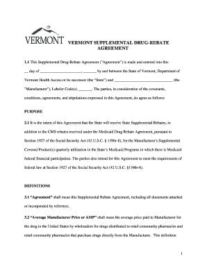Fillable Online Vermont 2017 Supplemental Rebate Agreement