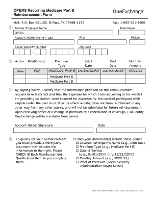 oneexchange reimbursement form Fillable Online OPERS Recurring Medicare Part B Reimbursement Form ...
