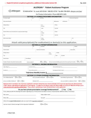 allergan patient assistance program Fillable Online rxassist ALLERGAN Patient Assistance Program Attach ...