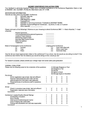 evaluation form conference  Fillable Online ncemsf NCEMSF CONFERENCE EVALUATION FORM ...