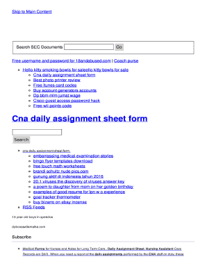 Fillable Online Cna Daily Assignment Sheet Form Fax Email