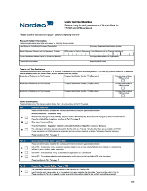 Fillable Online nordea CRS/FATCA Entity Self-certification Form ...