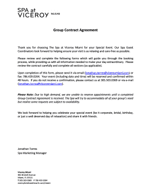 Fillable Online Spa Group Contract Agreement