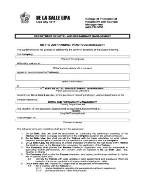 Sample Application Letter For Hotel And Restaurant Management Ojt