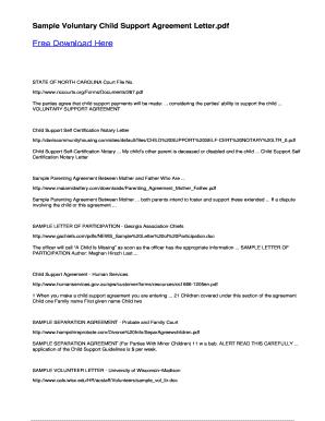 Fillable online sample voluntary child support agreement letter fax fill online altavistaventures Images