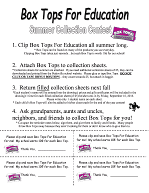 image relating to Printable Box Top Collection Sheets named Fillable On the internet pettisvilleschools Box Tops for Training