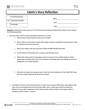 Calvin S Story Reflection Answers Fill Online Printable Fillable Blank Pdffiller