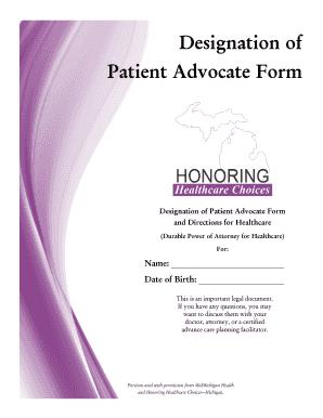 Fillable Online midmichigan Designation of Patient Advocate Form ...