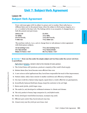22 Printable subject verb agreement pdf Forms and Templates