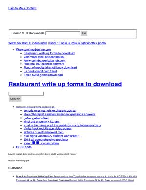 restaurant write up forms